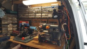 image of our key cutting equipment in our locksmith van