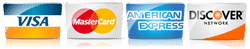 credit cards accepted visa, amex, mastercard, discover