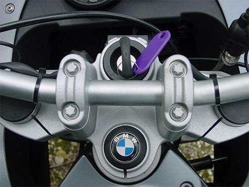 image of a BMW motorcycle key in the ignition